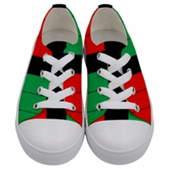 Kwanzaa Colors Striped Pattern Red Black Green Kids  Low Top Canvas Sneakers