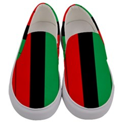 Kwanzaa Colors Striped Pattern Red Black Green Men s Canvas Slip Ons