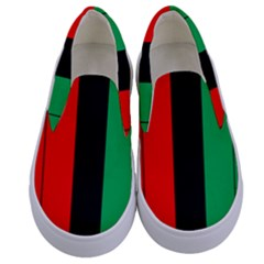 Kwanzaa Colors Striped Pattern Red Black Green Kids  Canvas Slip Ons