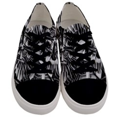 Black And White Passion Flower Passiflora Floral Men s Low Top Canvas Sneakers