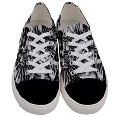Black And White Passion Flower Passiflora Floral Women s Low Top Canvas Sneakers