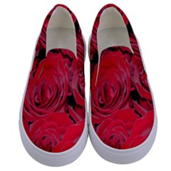 Red Roses Love Floral Elegant Chic Rose Photography Kids  Canvas Slip Ons