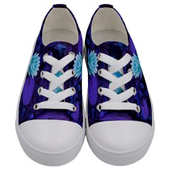 Lotus Flower Magical Colors Purple Blue Turquoise Floral Kids  Low Top Canvas Sneakers