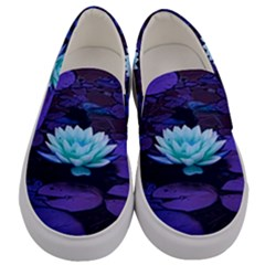 Lotus Flower Magical Colors Purple Blue Turquoise Floral Men s Canvas Slip Ons