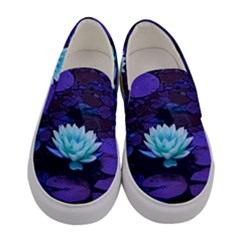 Lotus Flower Magical Colors Purple Blue Turquoise Floral Women s Canvas Slip Ons