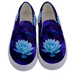 Lotus Flower Magical Colors Purple Blue Turquoise Floral Kids  Canvas Slip Ons