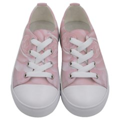 Romantic Soft Pink Rose Floral Kids  Low Top Canvas Sneakers