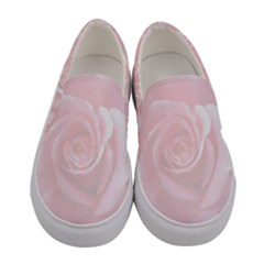 Romantic Soft Pink Rose Floral Women s Canvas Slip Ons