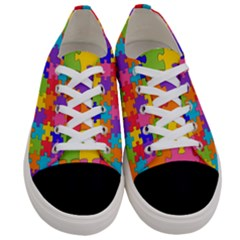 Funny Colorful Purple Pink Orange Yellow Blue Solved Jigsaw Puzzle Women s Low Top Canvas Sneakers