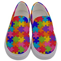 Funny Colorful Purple Pink Orange Yellow Blue Solved Jigsaw Puzzle Men s Canvas Slip Ons