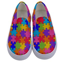 Funny Colorful Purple Pink Orange Yellow Blue Solved Jigsaw Puzzle Kids  Canvas Slip Ons