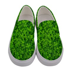 Shamrock Clovers Green Irish St  Patrick Ireland Good Luck Symbol Women s Canvas Slip Ons