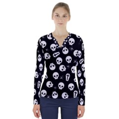 Skull, Spider And Chest    Halloween Pattern V Neck Long Sleeve Top