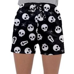 Skull, Spider And Chest    Halloween Pattern Sleepwear Shorts