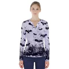 Vintage Halloween Bat Pattern V Neck Long Sleeve Top