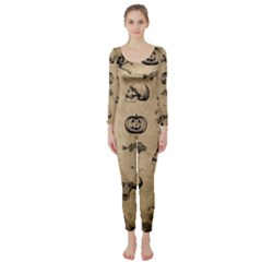 Vintage Halloween Pattern Long Sleeve Catsuit