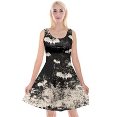 Vintage Halloween Bat Pattern Reversible Velvet Sleeveless Dress