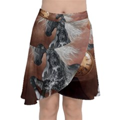 Steampunk, Awesome Steampunk Horse With Clocks And Gears In Silver Chiffon Wrap