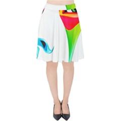 Colourful Art Face Velvet High Waist Skirt