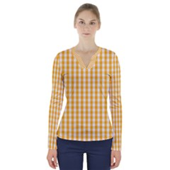 Pale Pumpkin Orange And White Halloween Gingham Check V Neck Long Sleeve Top