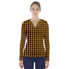 Pale Pumpkin Orange And Black Halloween Gingham Check V Neck Long Sleeve Top