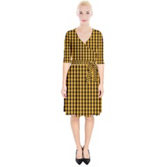Pale Pumpkin Orange And Black Halloween Gingham Check Wrap Up Cocktail Dress