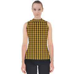 Pale Pumpkin Orange And Black Halloween Gingham Check Shell Top