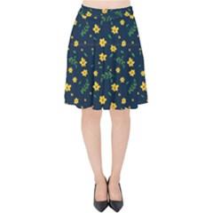 Yellow & Blue Bloom Velvet High Waist Skirt