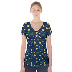 Yellow & Blue Bloom Short Sleeve Front Detail Top
