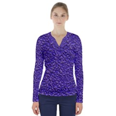 Jagged Stone Blue V Neck Long Sleeve Top