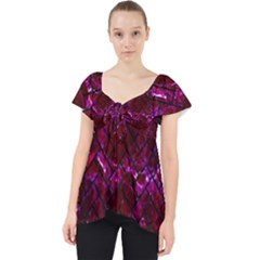 Brick2 Black Marble & Burgundy Marble (r) Lace Front Dolly Top