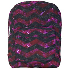Chevron3 Black Marble & Burgundy Marble Full Print Backpack