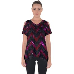 Chevron9 Black Marble & Burgundy Marble Cut Out Side Drop Tee