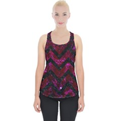 Chevron9 Black Marble & Burgundy Marble (r) Piece Up Tank Top