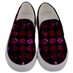 Circles1 Black Marble & Burgundy Marble Men s Canvas Slip Ons