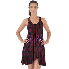 Circles3 Black Marble & Burgundy Marble (r) Show Some Back Chiffon Dress