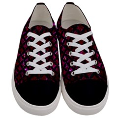 Circles3 Black Marble & Burgundy Marble (r) Women s Low Top Canvas Sneakers