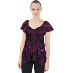 Damask1 Black Marble & Burgundy Marble Lace Front Dolly Top