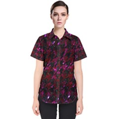 Houndstooth1 Black Marble & Burgundy Marble Women s Short Sleeve Shirt