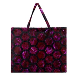 Hexagon2 Black Marble & Burgundy Marble (r) Zipper Large Tote Bag