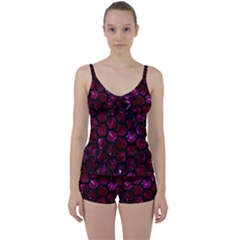 Hexagon2 Black Marble & Burgundy Marble (r) Tie Front Two Piece Tankini