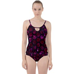 Hexagon2 Black Marble & Burgundy Marble (r) Cut Out Top Tankini Set