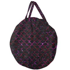 Scales1 Black Marble & Burgundy Marble Giant Round Zipper Tote