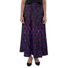Scales1 Black Marble & Burgundy Marble Flared Maxi Skirt