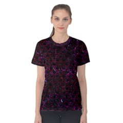 Scales2 Black Marble & Burgundy Marble Women s Cotton Tee