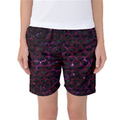 Scales3 Black Marble & Burgundy Marble Women s Basketball Shorts