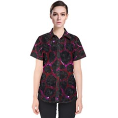 Skin1 Black Marble & Burgundy Marble (r)lack Marble & Burgundy Marble (r) Women s Short Sleeve Shirt
