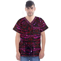 Skin2 Black Marble & Burgundy Marble (r) Men s V Neck Scrub Top