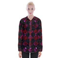 Square2 Black Marble & Burgundy Marble Womens Long Sleeve Shirt
