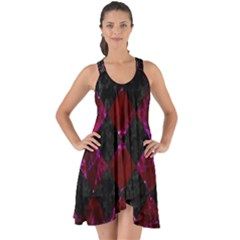 Square2 Black Marble & Burgundy Marble Show Some Back Chiffon Dress